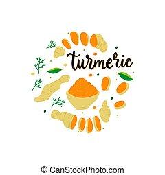 Turmeric powder and root vector flat illustration