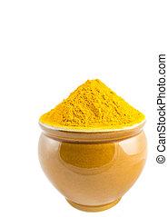 Turmeric Powder Ceramic Container - Turmeric powder in a...