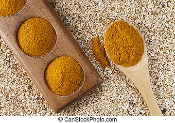 Turmeric powder in spoon on wooden background