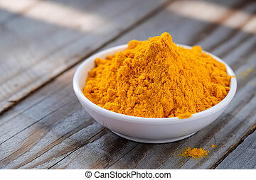 Turmeric powder in white cup.