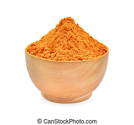 turmeric powder in wooden bowl isolated on white background