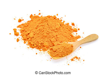 turmeric powder in wooden spoon isolated on white background