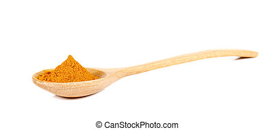 Turmeric powder in wooden spoon on white background.