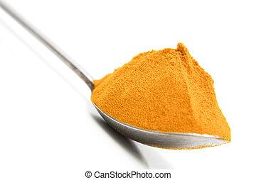 Turmeric powder on a tea spoon