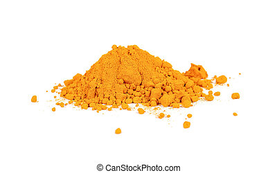 Turmeric powder on white background.