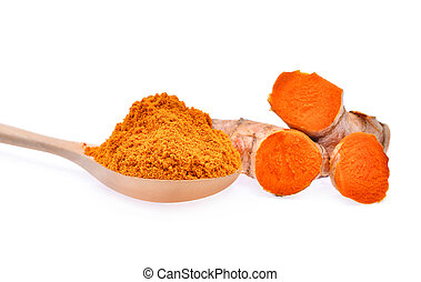 turmeric root and powder in wooden spoon isolated on white background