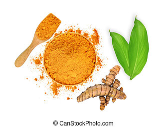 turmeric root and turmeric powder in wooden bowl and spoon with green leaves isolated on white background, flat lay, top view