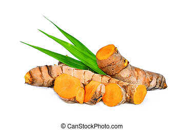 turmeric root with green leaves isolated on white background