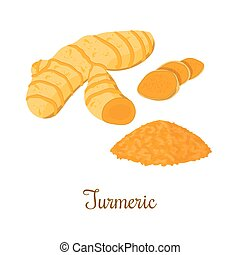 Turmeric root with powder isolated on white background. ...