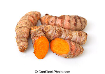 Turmeric Roots - Group of turmeric roots isolated on white...