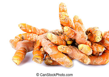 Turmeric roots herb on white background.