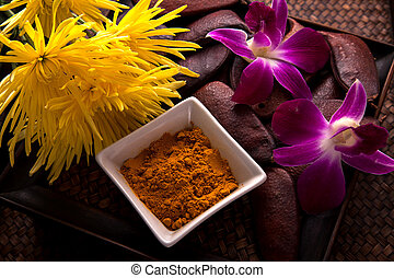 Turmeric Scrub for beauty treatment in spa.