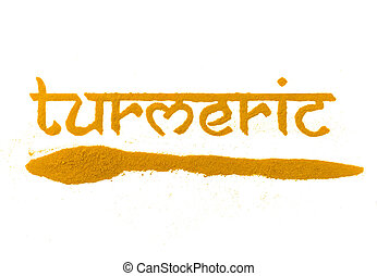isolated turmeric curry spice written in letters
