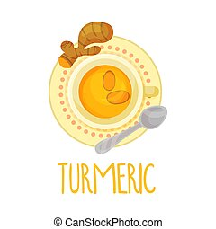 Turmeric Tea Vector Illustration View From Above