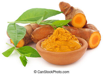 Turmeric with henna leaves