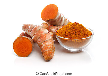 Turmerics - Turmeric roots and powder on white background