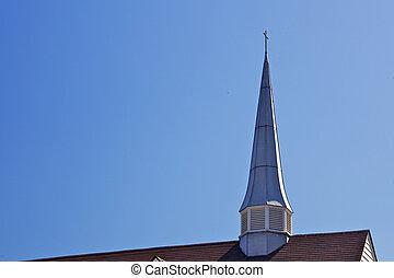 turmspitze, schlanke, kirche