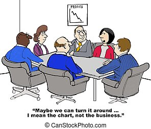 Turn Around - Business cartoon of business meeting and chart...