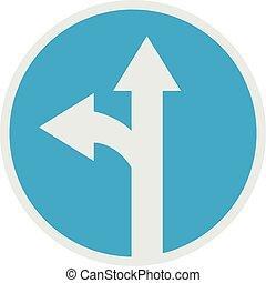 Turn arrow icon, flat style.