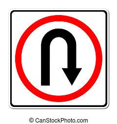 Turn back road sign on white background