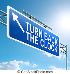 Turn back the clock. - Illustration depicting a roadsign...