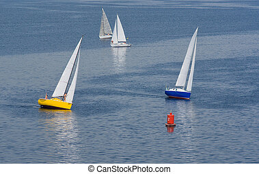 Turn in yachting race on a summer river