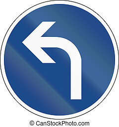 Turn Left Ahead - German traffic sign: Turn left ahead