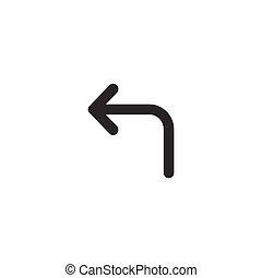 turn left arrow icon, black vector illustration isolated on white background.