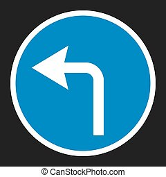 turn left arrow sign flat icon