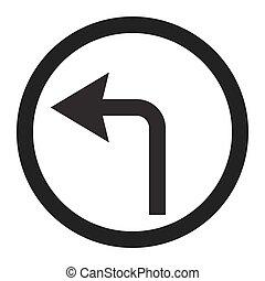 turn left arrow sign line icon