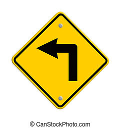 Turn left road sign. Part of a series.