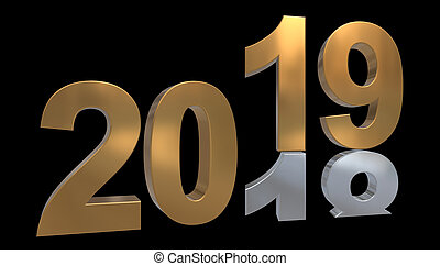 Turn of the year 3D graphic - The year 2019 in gold stands on the number 2018 in silver, in front of a black background