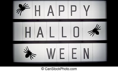 Turn on and turn off lightbox with text Happy halloween and ...