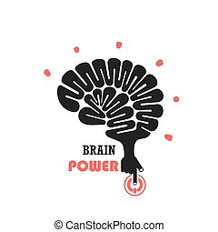 Turn on Creative Light Bulb concept.Brain Logo design vector template.Think Idea concept.Brainstorm Power Thinking Brain icon.