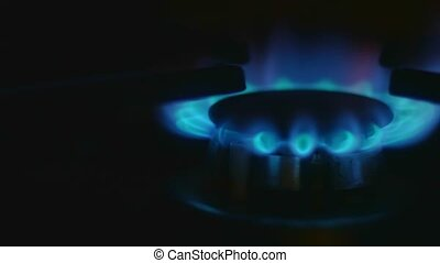 Turn on gas stove macro shot 4k
