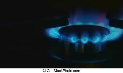 Turn on gas stove macro shot 4k
