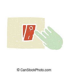 Turn on - Illustration of hand press the switch on the wall