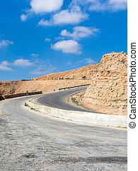 turn on King's highway in mountain in Jordan - Travel to...