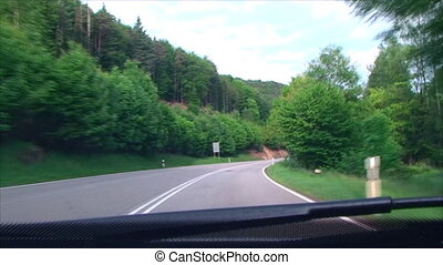turn on mountain, forest road