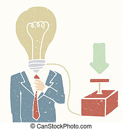 Turn on the idea - Illustration of businessman with switch...