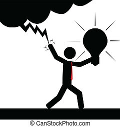 Turn on the idea - Vector , illustration.A man is using...