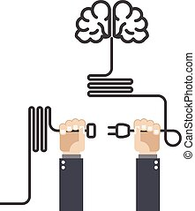 Turn on your brain - hands with plug and cord