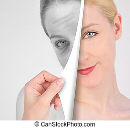 Turn Page on Old Wrinkle Eye to Youth - A hand is turning a...