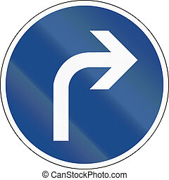 Turn Right Ahead - German traffic sign: Turn right ahead