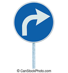 Turn right ahead sign, blue round isolated roadside traffic signage, white arrow icon and frame roadsign, grey pole post