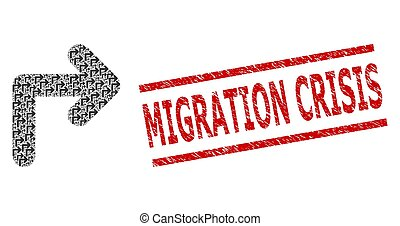 Recursion collage turn right and Migration Crisis grunge stamp print. Vector collage is designed with repeating turn right elements. Stamp includes Migration Crisis text between parallel lines.