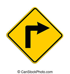 Turn right road sign. Part of a series.