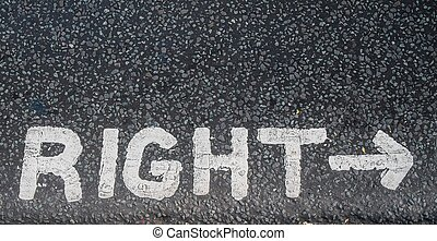 Turn right sign on an asphalt