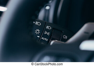 Turn signal switch. Car interior detail. - Car interior with...