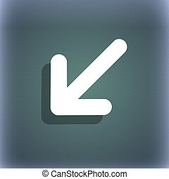 turn to full screen icon symbol on the blue-green abstract background with shadow and space for your text.